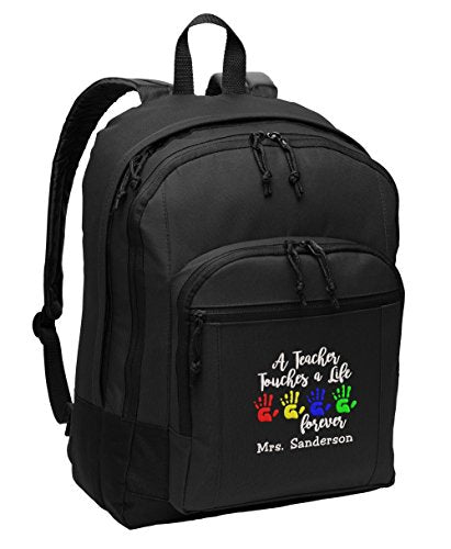 A Teacher Touches a Life Forever Personalized Embroidered Backpack - Simply Custom Life