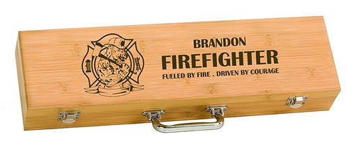 Firehouse Dalmatian Firefighter BBQ Grilling Tool Set Personalized Engraved - Simply Custom Life