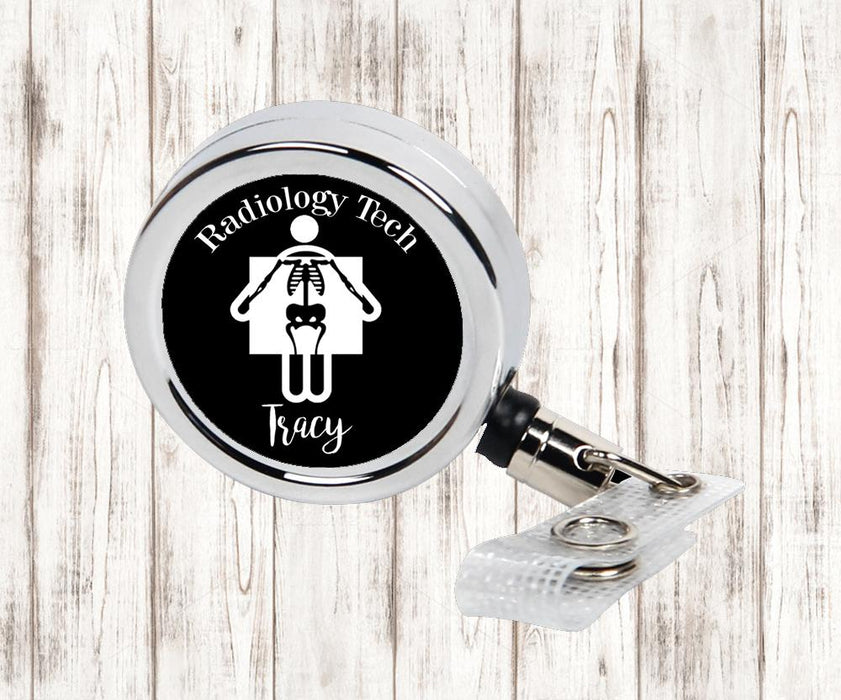 Radiology Tech Personalized Metal Retractable Badge Reel, ID Holder - Simply Custom Life
