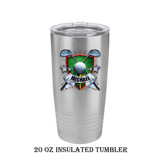 Golf Crest Personalized 20 oz Insulated Travel Tumbler - Simply Custom Life