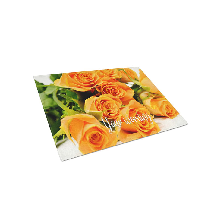 Roses Personalized Tempered Glass Cutting Board Wedding Anniversary Gift - Simply Custom Life