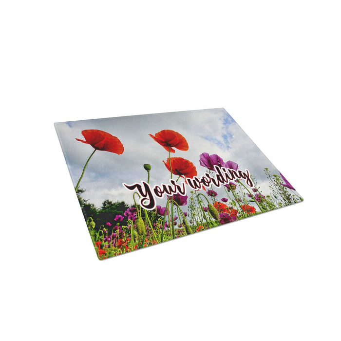 Field of Poppies Personalized Tempered Glass Cutting Board Personalized Wedding Anniversary Gift - Simply Custom Life
