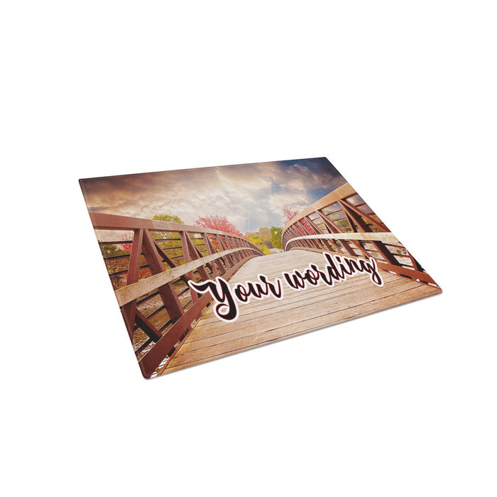 Bridge to Autumn Personalized Tempered Glass Cutting Board Wedding Anniversary Gift - Simply Custom Life