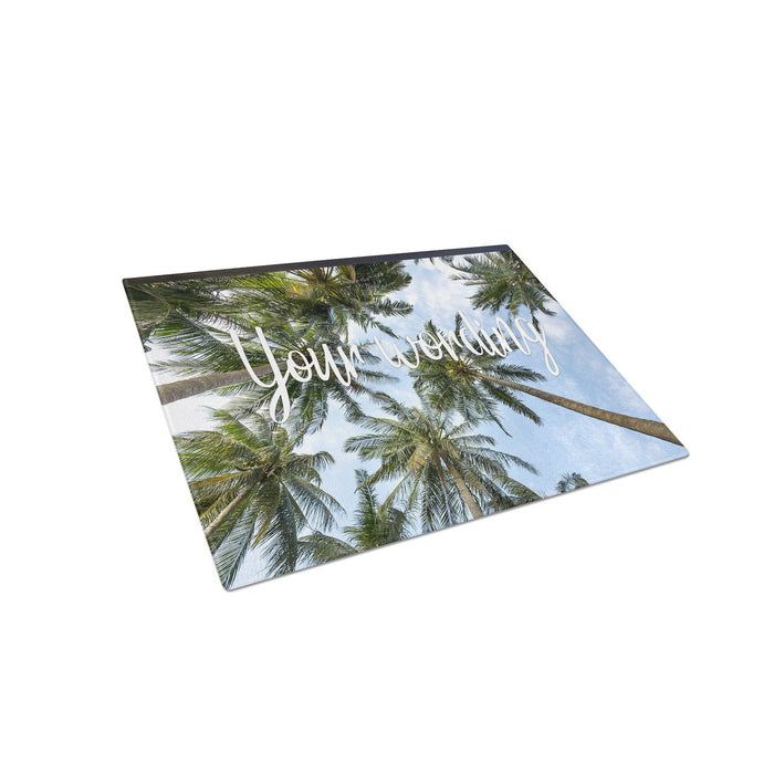 Tropical Palm Trees Personalized Tempered Glass Cutting Board Wedding Anniversary Gift - Simply Custom Life