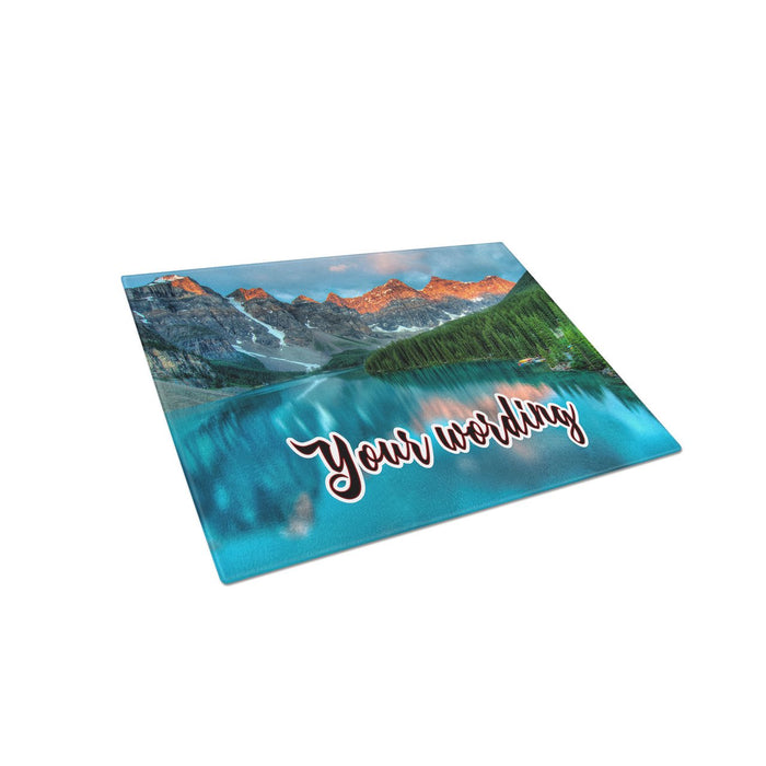 Canadian Mountains Personalized Tempered Glass Cutting Board Wedding Anniversary Gift - Simply Custom Life