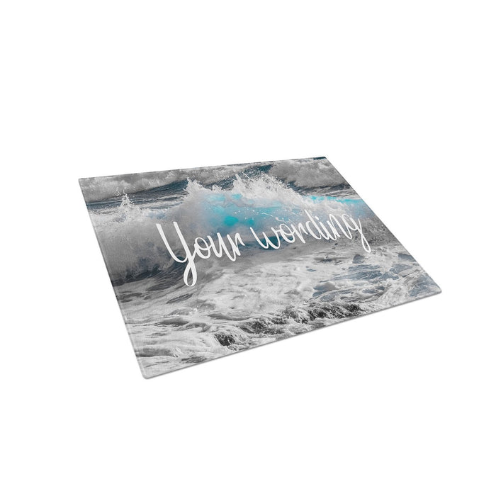 Ocean Waves Personalized Tempered Glass Cutting Board Wedding Anniversary Gift - Simply Custom Life