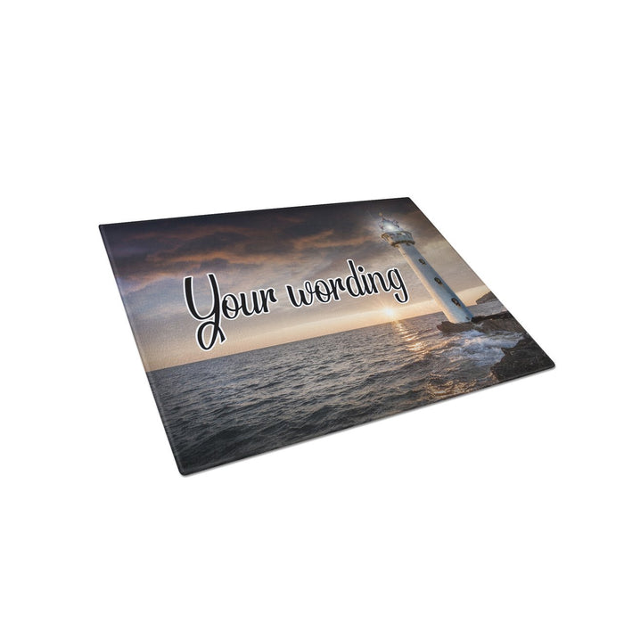 Lighthouse Personalized Tempered Glass Cutting Board Wedding Anniversary Gift - Simply Custom Life