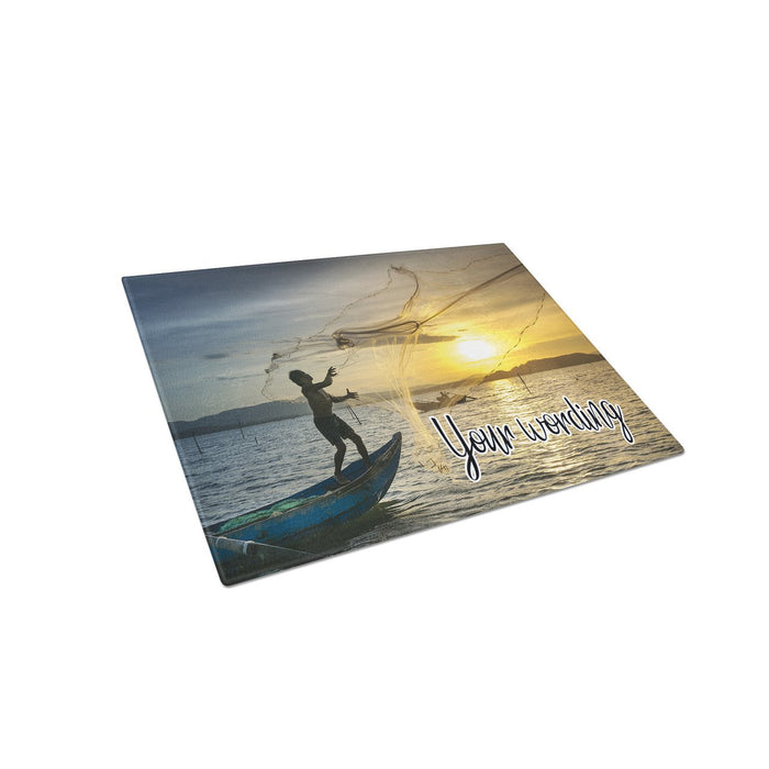 Cast a Net Personalized Tempered Glass Cutting Board Wedding Anniversary Gift - Simply Custom Life