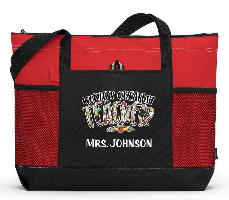 Personalized World's Greatest Teacher Tote Bag with Mesh Pockets - Simply Custom Life