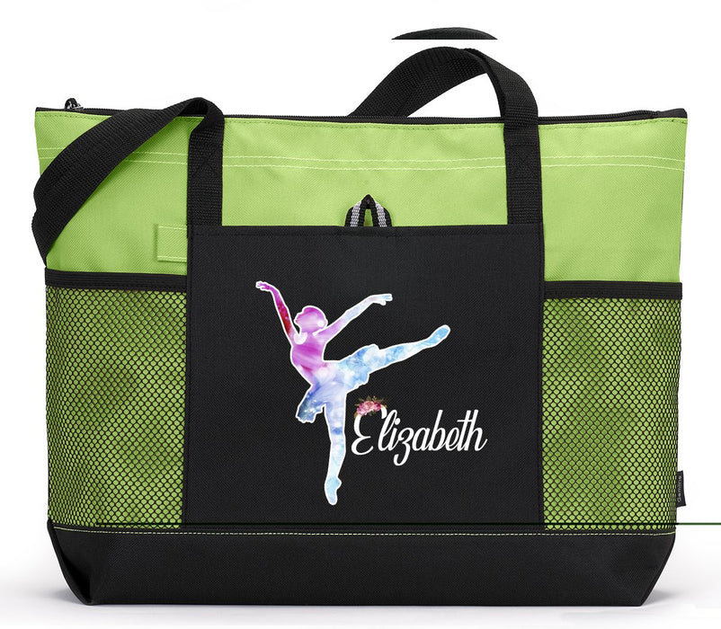 Ballerina / Ballet Personalized Zippered Tote Bag, Custom Printed - Simply Custom Life