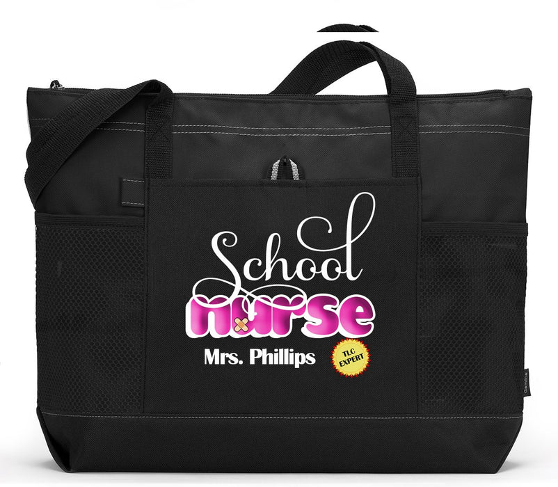 School Nurse Personalized Zippered Tote Bag - Simply Custom Life