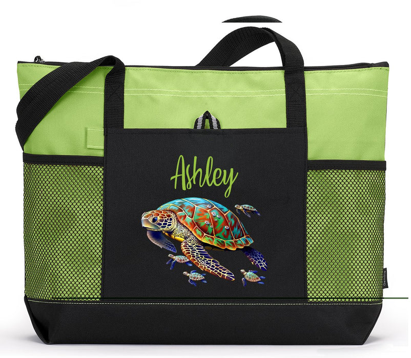 Sea Turtles Personalized Zippered Tote Bag - Simply Custom Life