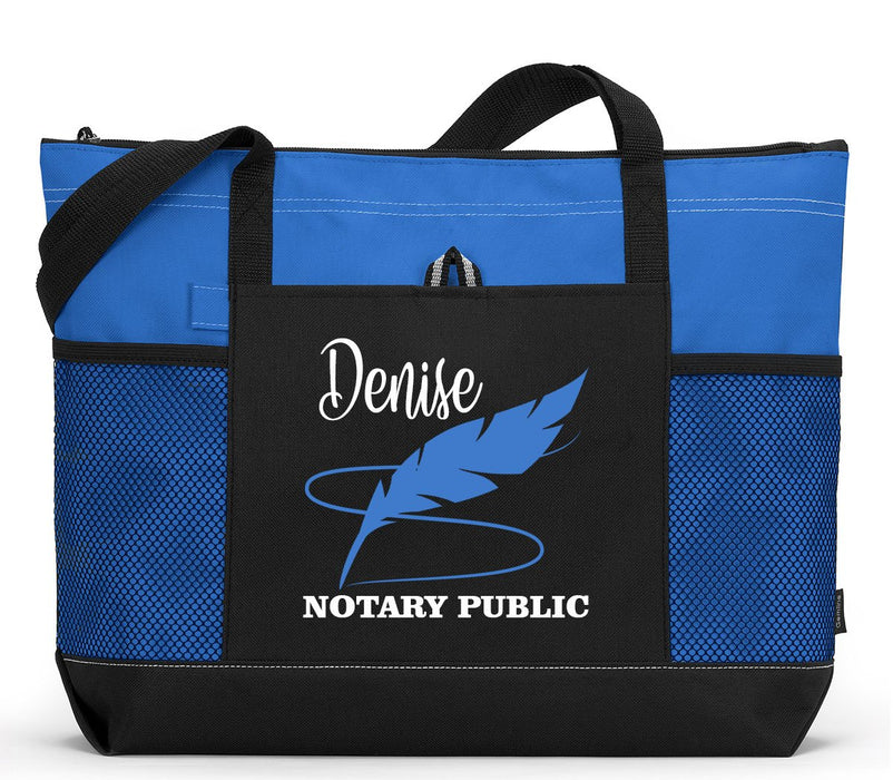 Personalized Notary Public Feather Tote Bag with Mesh Pockets - Simply Custom Life
