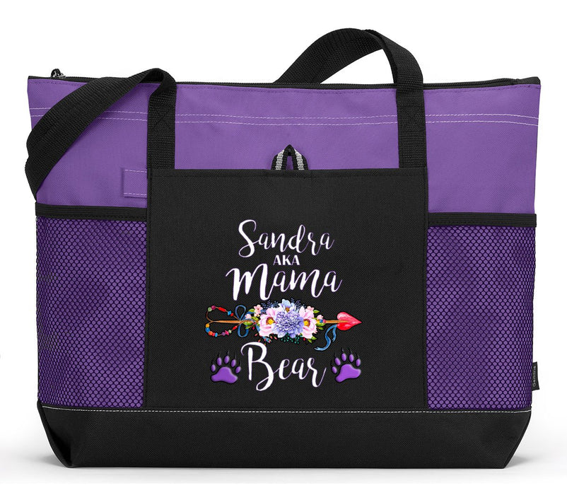 Mama Bear Personalized Zippered Tote Bag - Simply Custom Life