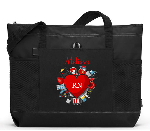 Medical Nurse Heart, RN, LPN Personalized Zippered Tote Bag - Simply Custom Life