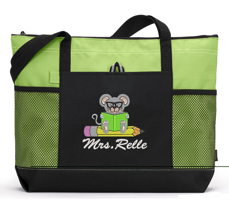 Teacher Mouse Personalized Embroidered Tote with Mesh Pockets - Simply Custom Life