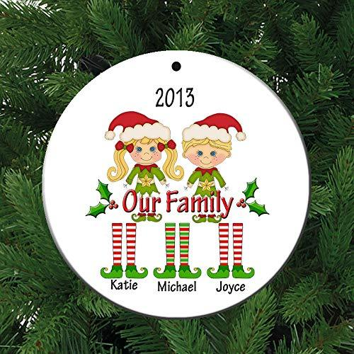Our Family 2 or 3 Children Personalized Ceramic Christmas Ornament - Simply Custom Life