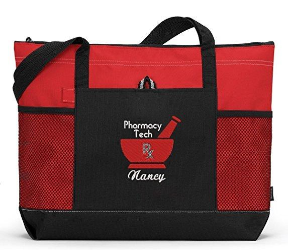 Pharmacy Tech Embroidered Tote Bag with Mesh Pockets, Front Pocket, Zippered Closure - Simply Custom Life