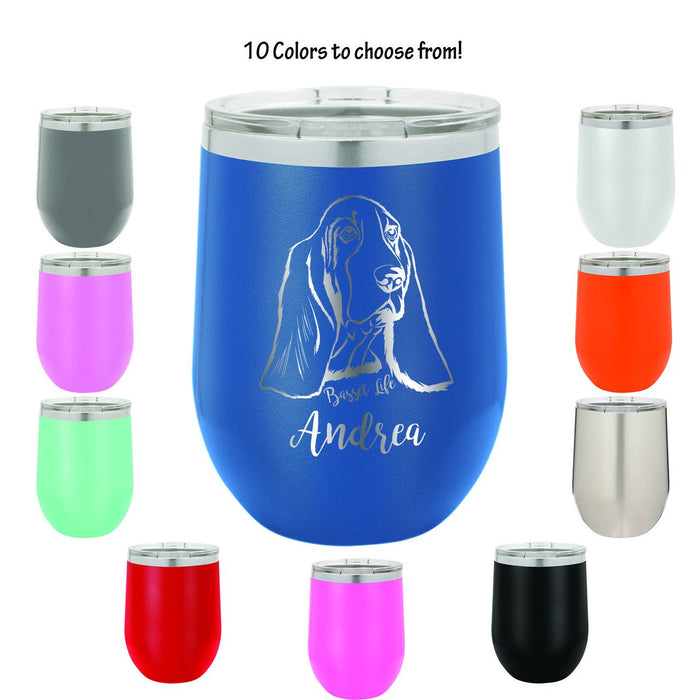 Basset Hound Life Personalized Engraved Insulated Stemless Stainless Steel 12 oz Tumbler - Simply Custom Life