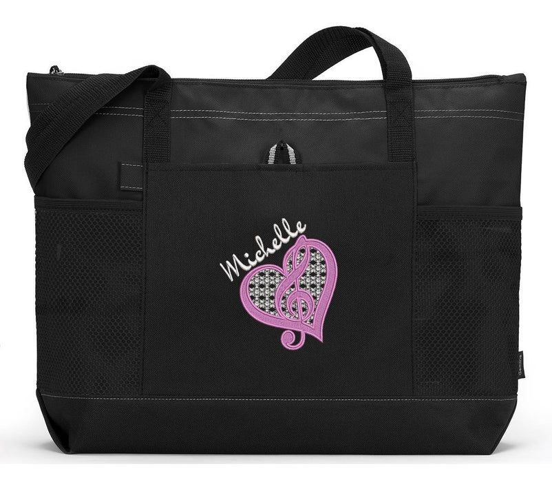 Personalized Music G Clef Music Lover / Music Teacher Embroidered Zippered Tote Bag With Mesh Pockets, Beach Bag, Boating - Simply Custom Life