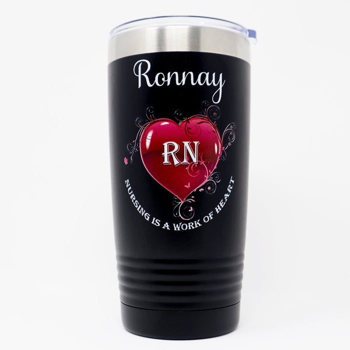 Nursing is a Work of Heart Personalized UV Printed Insulated Stainless Steel 20 oz Tumbler - Simply Custom Life