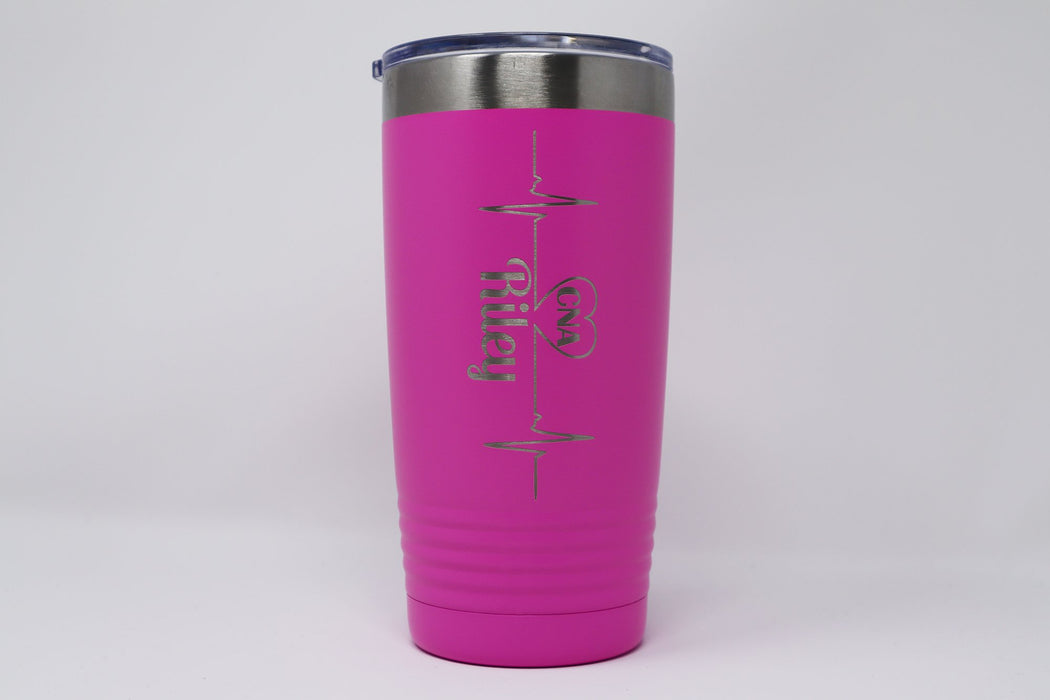 Heartbeat RN, LPN, CNA, CMA, MA Personalized Engraved Insulated Stainless Steel 20 oz Tumbler - Simply Custom Life