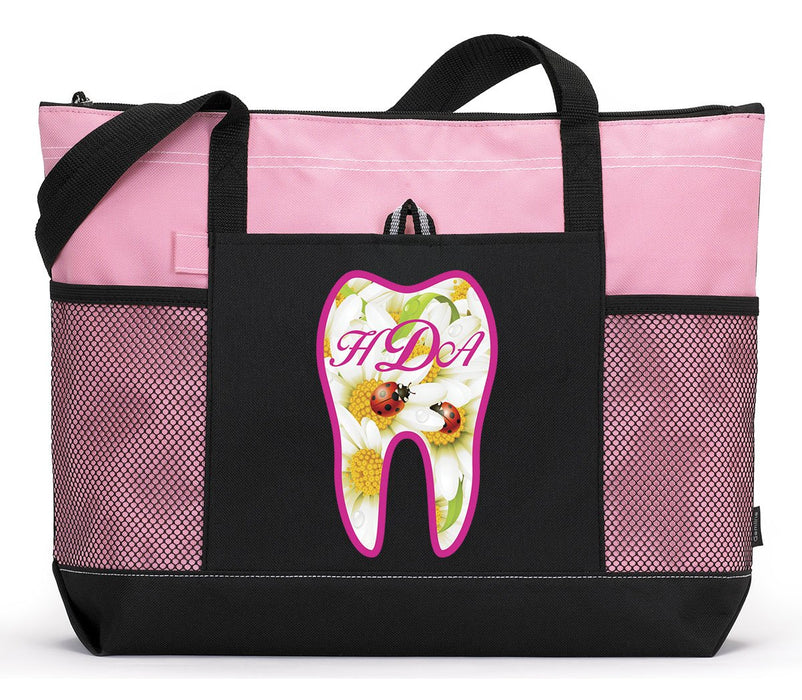 Dental Tooth Monogram with Ladybugs Personalized Tote 2083 - Simply Custom Life
