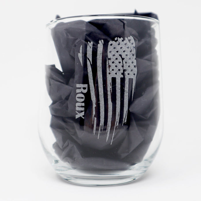 Distressed American Flag Patriotic Personalized Engraved Stemless Wine Glass - Simply Custom Life