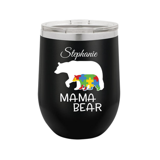 Mama Bear Autism Awareness Personalized 12 oz Insulated Stemless Wine Tumbler - Simply Custom Life
