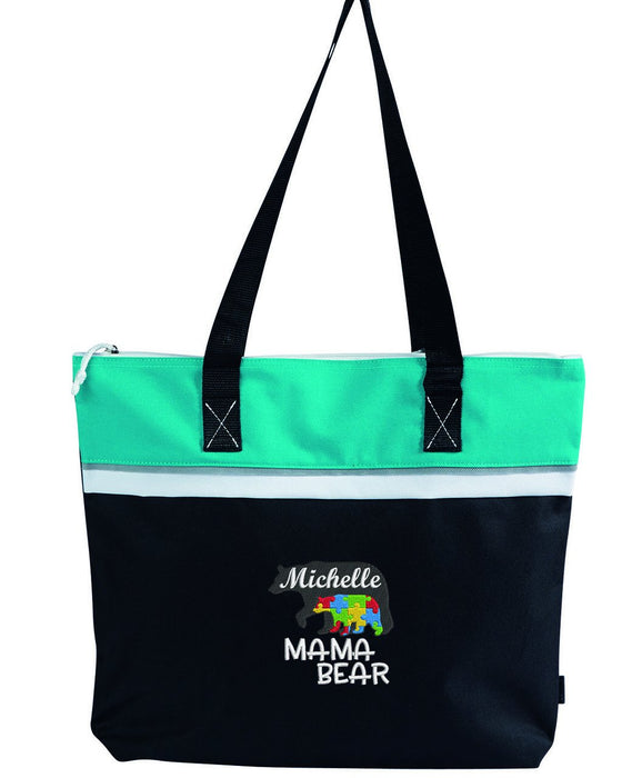 Mama Bear Autism Embroidered Small Tote - Simply Custom Life