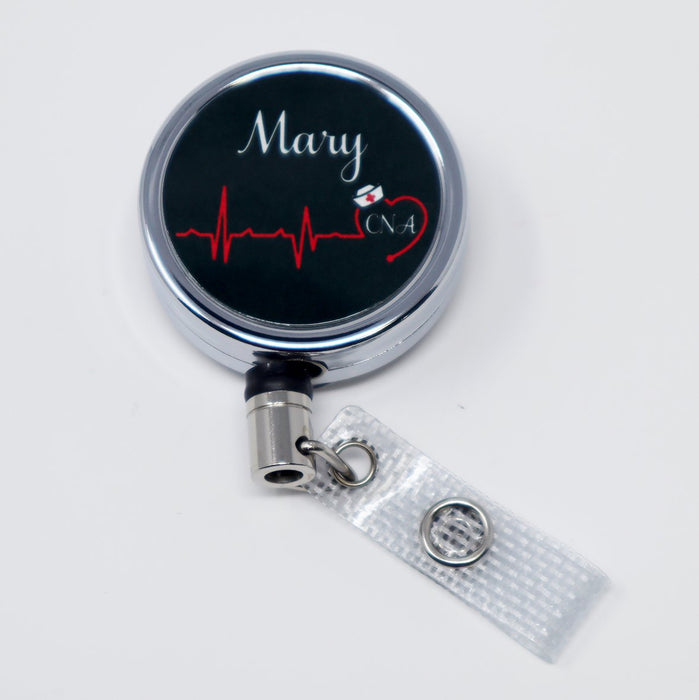 Heartbeat Nurse, RN, LPN, CNA, CMA Personalized Metal Retractable Badge Reel, ID Holder - Simply Custom Life