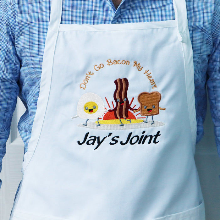 Don't Go Bacon My Heart Personalized Chef Embroidered Apron - Simply Custom Life