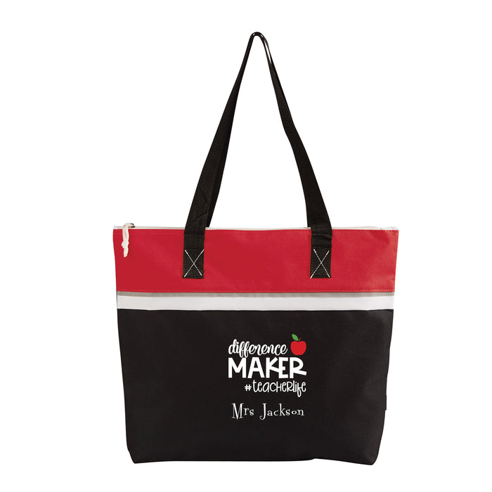 Difference Maker Teacher Life Personalized Small Beach Tote - Simply Custom Life