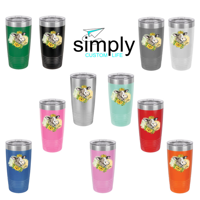 Personalized Sunflower Cow 20 oz Insulated Tumbler - Simply Custom Life
