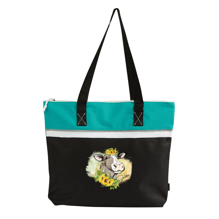 Sunflower Cow Personalized Small Tote - Simply Custom Life