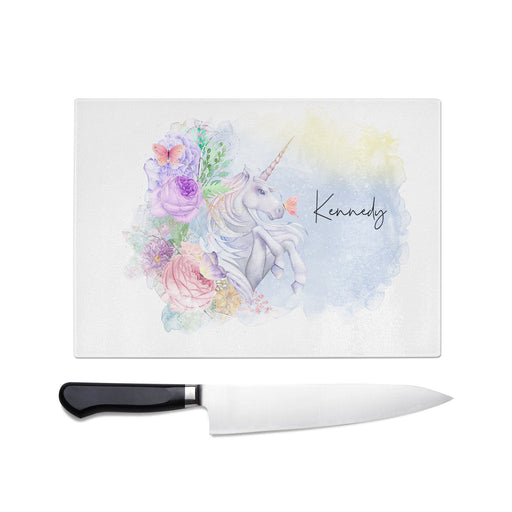 Magical Unicorn Personalized Tempered Glass Cutting Board Personalized Wedding Anniversary Gift - Simply Custom Life