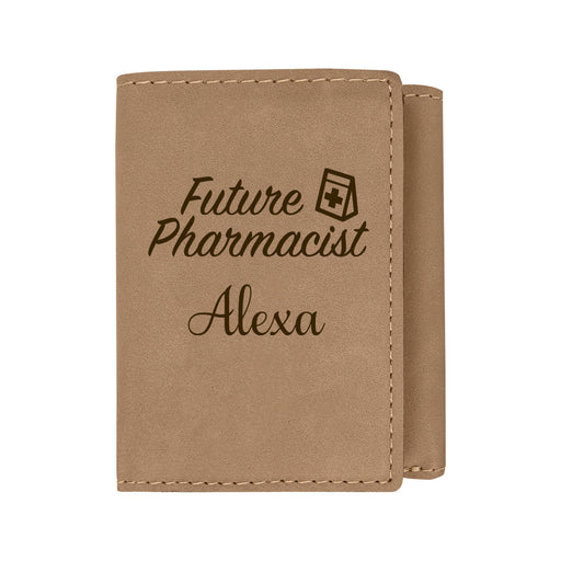 Pharmacy Degree Loading Light Brown Personalized Leatherette Trifold Wallet - Simply Custom Life