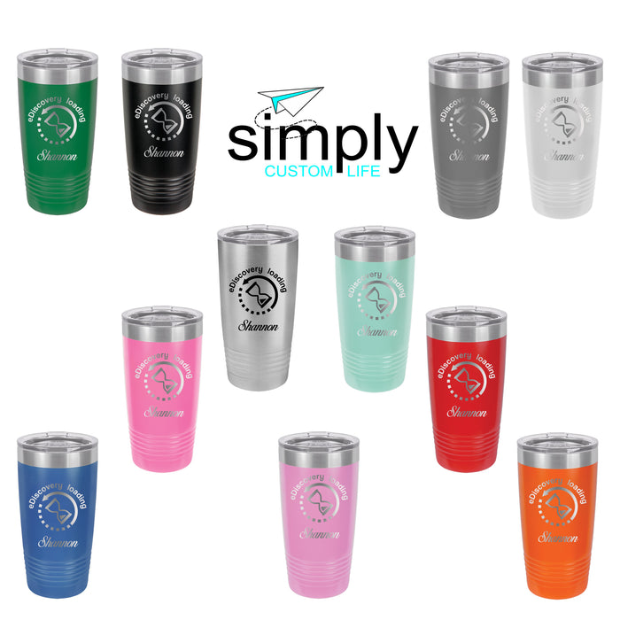 eDiscovery Loading Personalized Engraved Insulated Stainless Steel 20 oz Tumbler, Paralegal Gift - Simply Custom Life