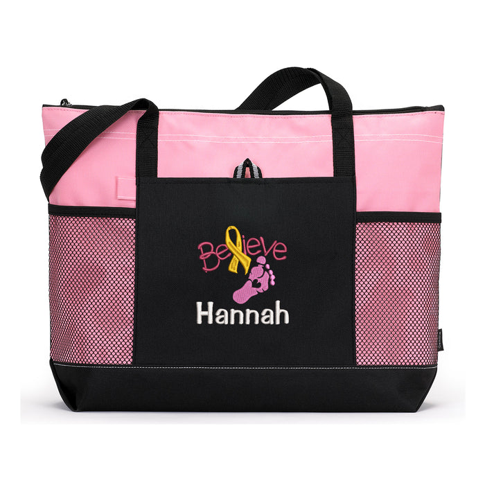 Believe Childhood Cancer Awareness Personalized Embroidered Tote - Simply Custom Life