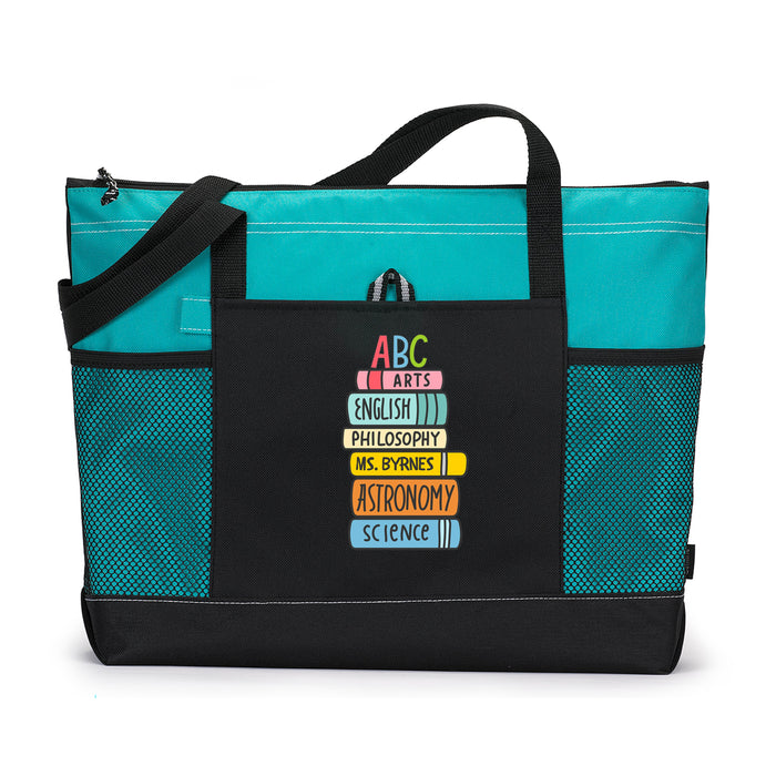 Personalized Teacher Books Tote Bag with Mesh Pockets - Simply Custom Life