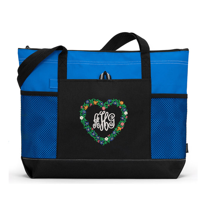 Flower Heart Monogrammed Embroidered Zippered Tote Bag - Simply Custom Life