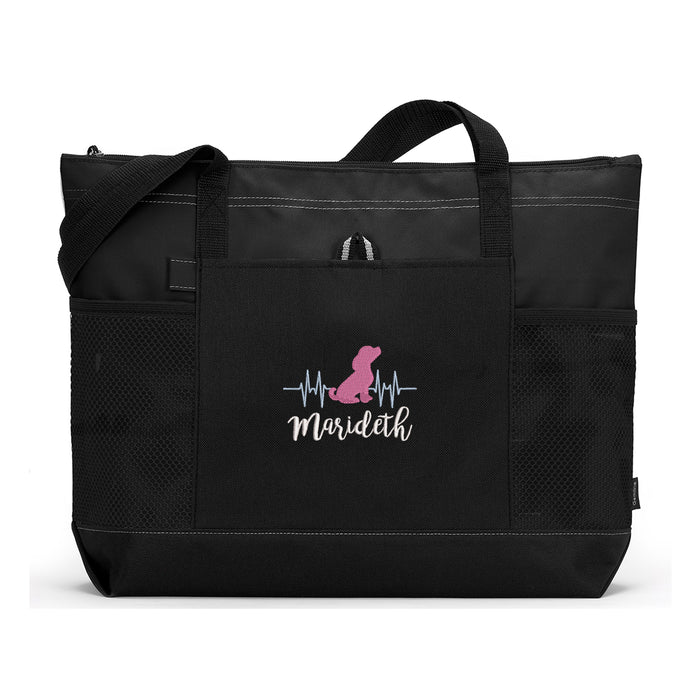 Heartbeat  Dog Design  Embroidered Zippered Tote Bag - Simply Custom Life
