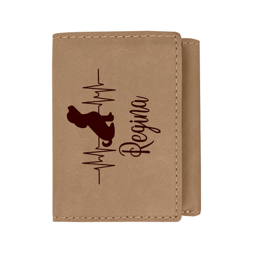 Heartbeat Soccer Lover Light Brown Personalized Leatherette Trifold Wallet - Simply Custom Life