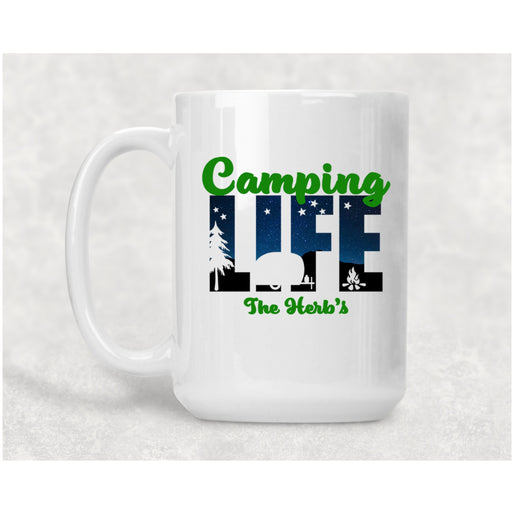 Camping Life Personalized 15 oz Ceramic Coffee Mug - Simply Custom Life