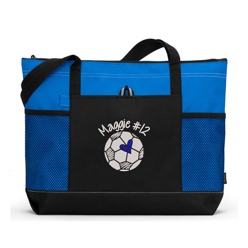 Soccer Ball Doodle Personalized Embroidered Tote - Simply Custom Life