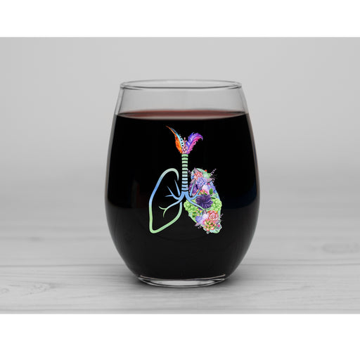 Respiratory Therapy Lungs with Succulent and Cacti Personalized Stemless Wine Glass - Simply Custom Life