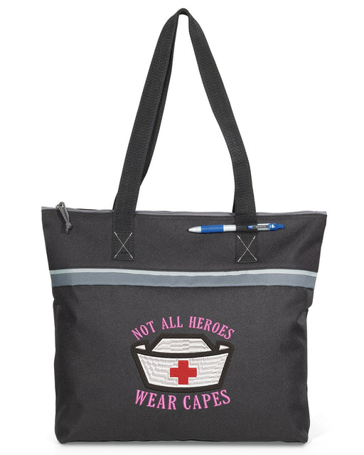 Not All Heros Wear Capes - Nurse Personalized Embroidered Small Beach Tote - Simply Custom Life