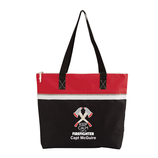 Keep Calm Firefighter Personalized Small Travel Beach Tote - Simply Custom Life