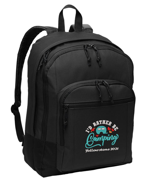 I'd Rather be Camping, Travel, Vacation Personalized Embroidered Backpack - Simply Custom Life