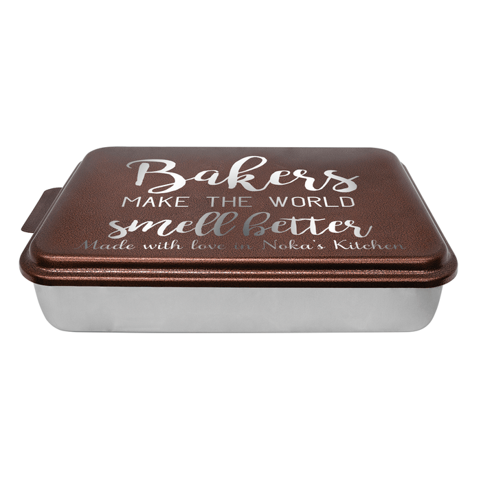 Personalized Cake Pan, Bakers Make the World Smell Better, Casserole Dishes, Wedding Shower Gift, Hostess Gift - Simply Custom Life